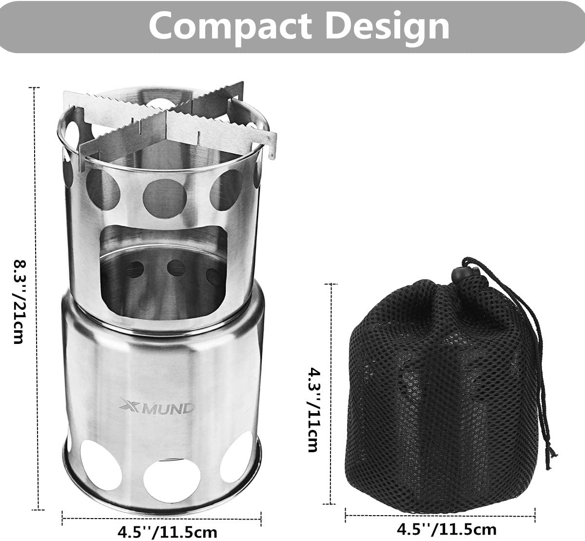 Camping Stove Camp Wood Stove Backpacking Compact and Lightweight Camping Stove for Picnic BBQ Camp Hiking Outdoor Traveling Xmund Stainless Steel Potable Wood Burning Stoves