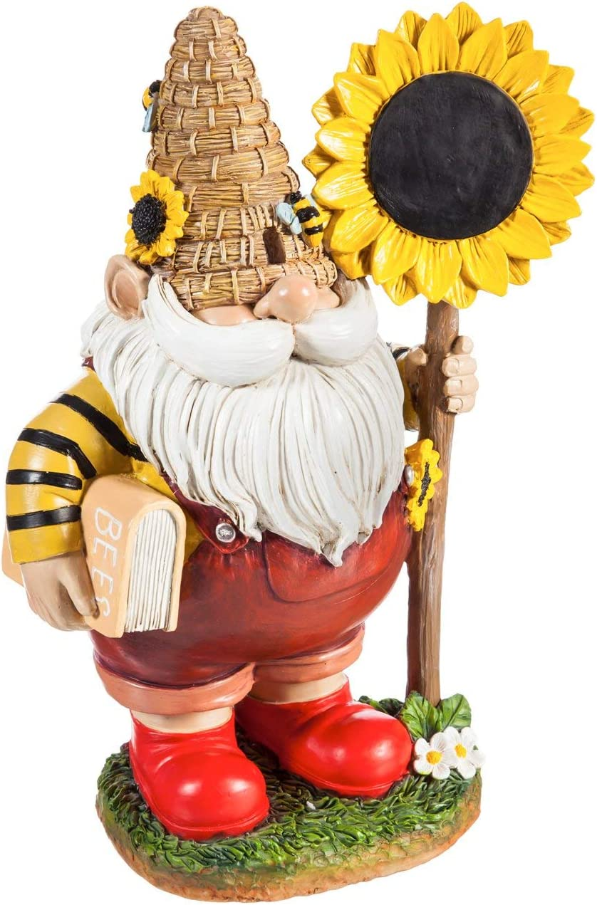 New Creative Evergreen Garden Polystone Honey Garden Gnome with Sunflower Sign