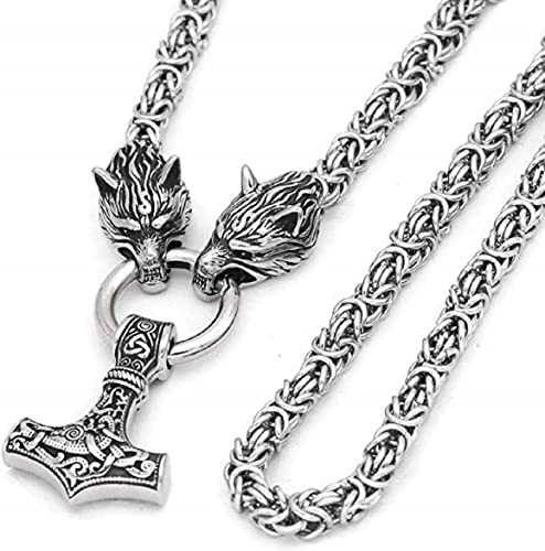 Viking Thors Hammer Mjolnir Necklace Stainless Steel Mens Norse Jewellery