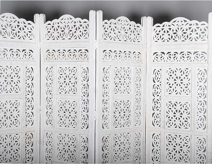 3 Pezzi Casa Moro Faysal PV5520 Colore: Bianco Paravento in Legno di Mango Massiccio e MDF 152 x 182 cm