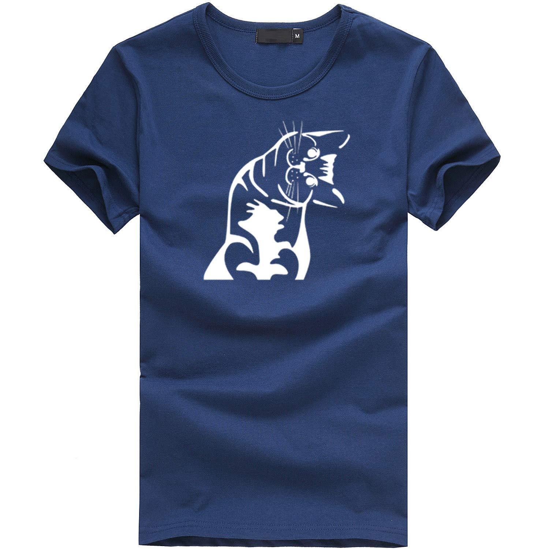 Womens Tops for Women Casual Top Lady Cute Kitten Short Sleeve T-Shirt Womens Shirt Navy