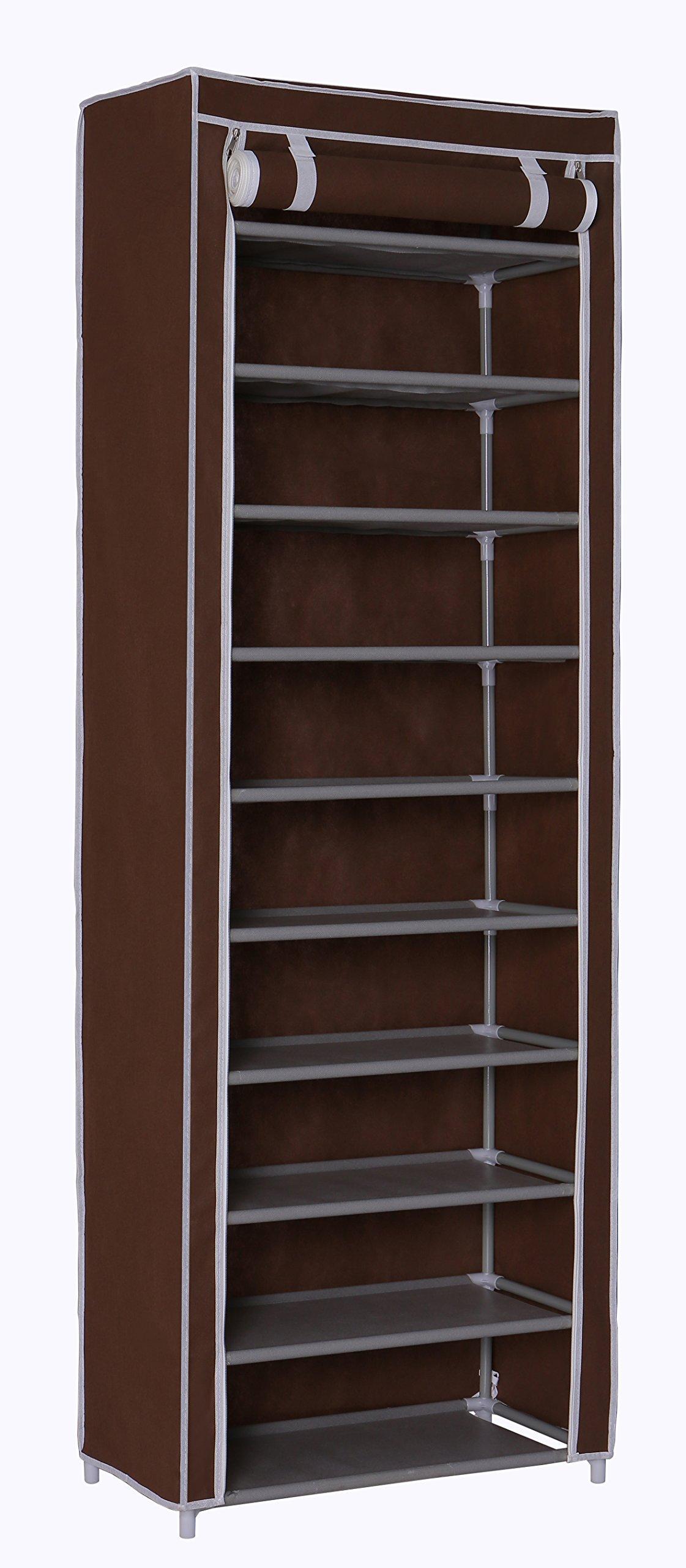 "Homebi 10-Tier Shoe Rack 30 Pairs Shoe Tower Closet Shoes Storage Cabinet Portable Boot Organizer Dustproof Non-Woven Fabric Cover 10 Durable Shelves,24.2""W x 12.4"" D x 68.3""H (Brown)"