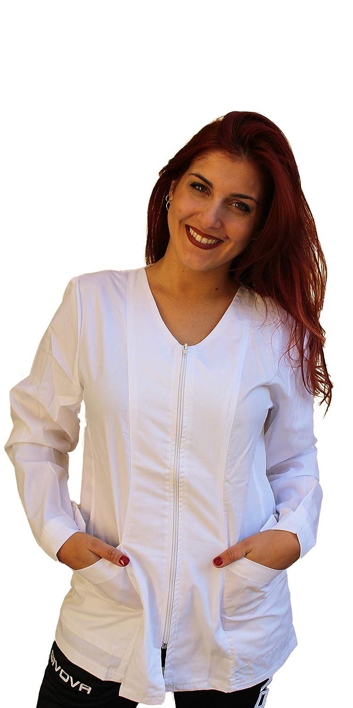con Zip,per Estetista OSS Infermiera Dentista Petersabitidalavoro Camice da Lavoro Donna,Manica Lunga Parrucchiera