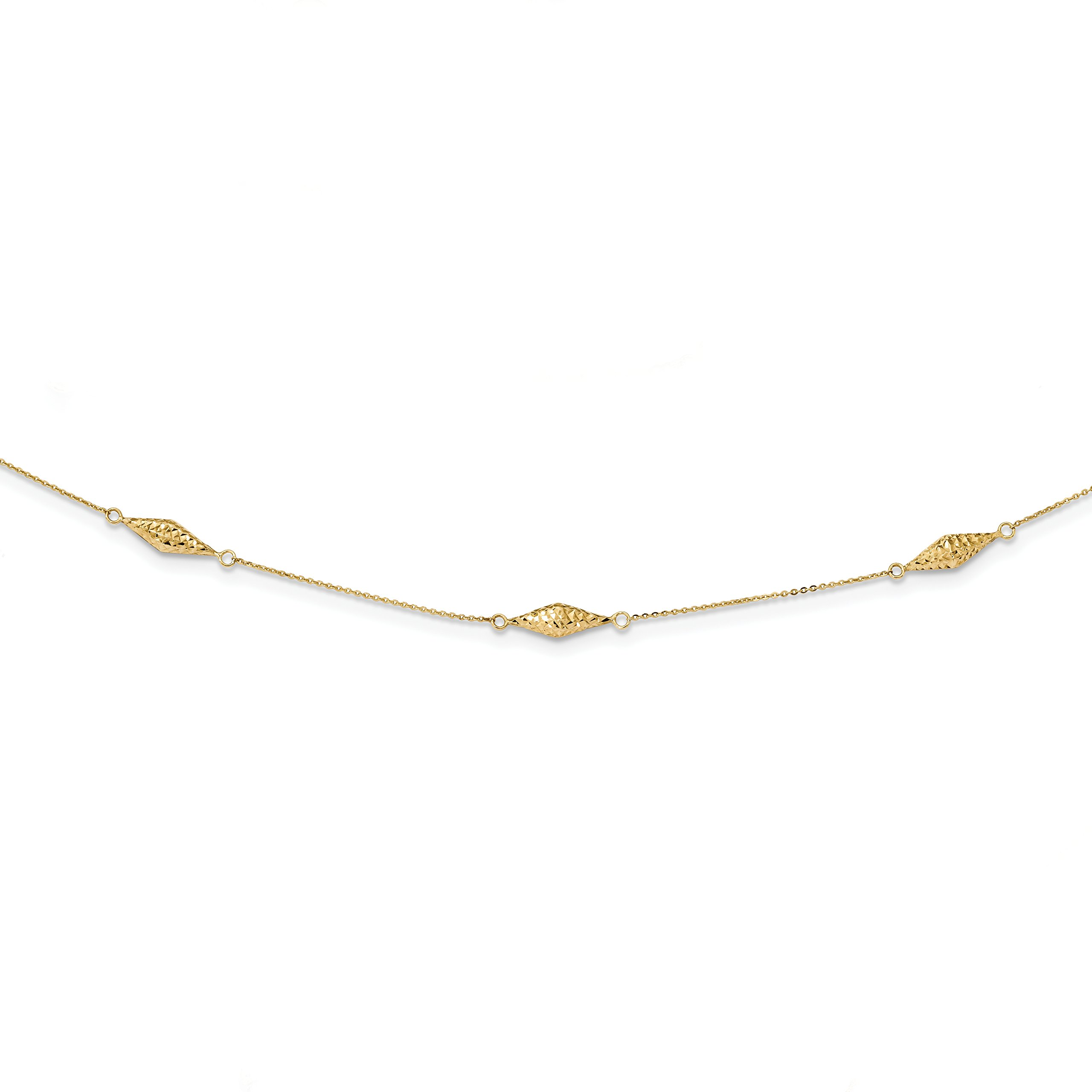 ICE CARATS 14k Yellow Gold Beaded 18 Inch Chain Necklace Fancy Bead Station Fine Jewelry Gift Set For Women Heart by ICE CARATS