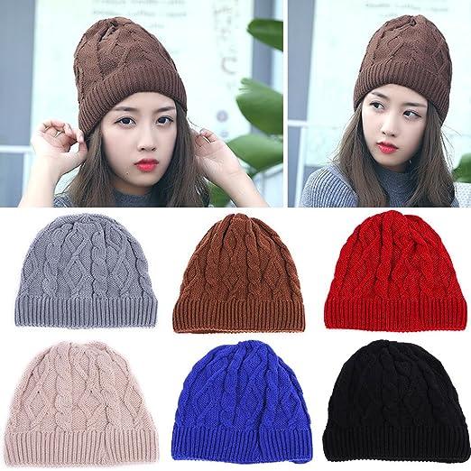 21b3b0cc8ad BIBITIME Twist Knit Hat Women Skullies Beanie Fleece Ears Warmer Woolen  Yarn Cap (Head Circumference