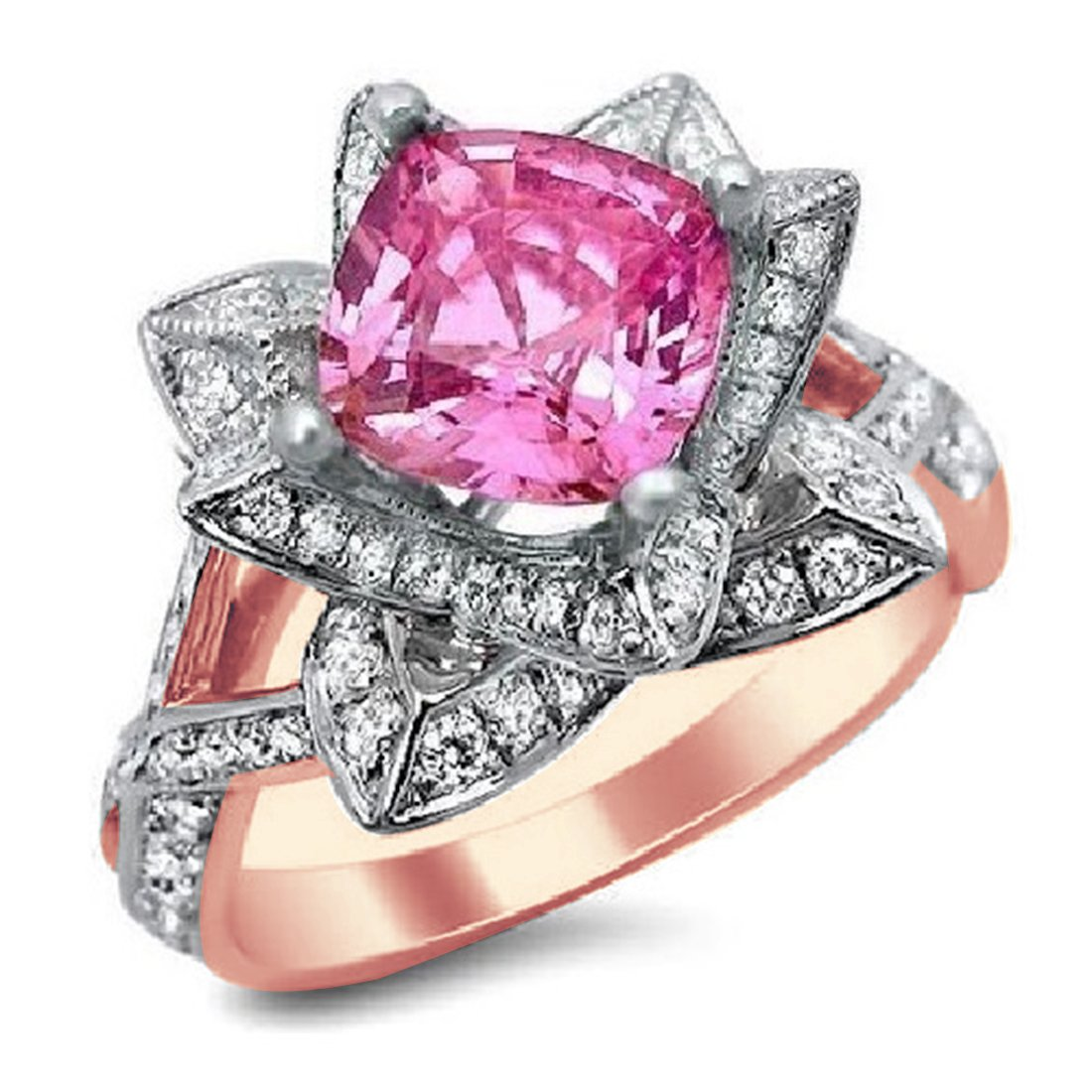 Smjewels 2.05 Ct Cushion Cut Pink Sapphire & Sim.Diamond Lotus Flower Ring In 14K Rose Gold Fn