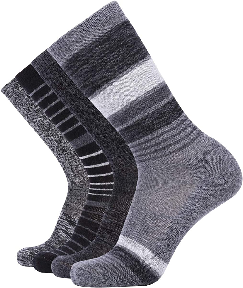 EnerWear 4 Pack Women's Merino Wool Outdoor Hiking Trail Crew Sock (US Shoe Size 4-10, Black Stripe/Dark Grey/Multi): Clothing