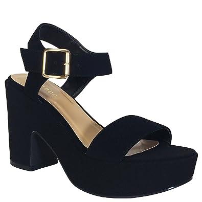 Amazon.com | Bamboo Women's Chunky Heel Platform Sandal With ...