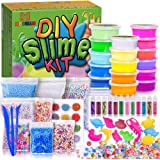 MOOHAM DIY Slime Kit Supplies - Clear Crystal Slime Making Kit for Girls, Floam Slime for Kids, Slime Foam Beads, Glitter , Fruit Slices and Fishbowl Beads Included