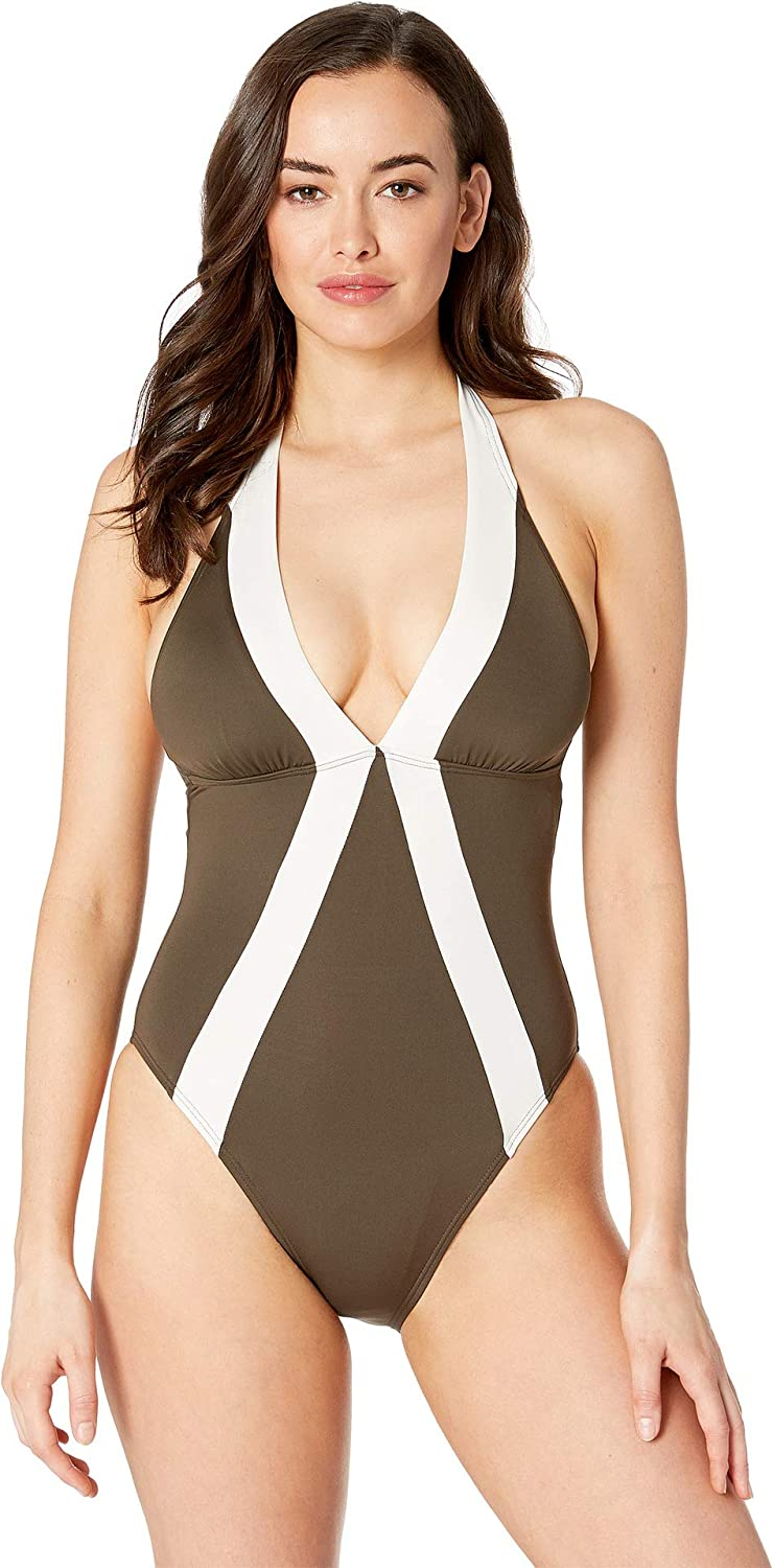 c7c044164a Vince Camuto Womens Sunblock Color Block Halter One-Piece at Amazon Women's  Clothing store: