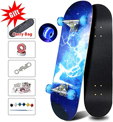Easy_way Complete Skateboards- Standard Skateboards with Colorful Flashing Wheels for Beginners Starter Kids Boys Girls Teenager- 31 x 8 Canadian Maple Cruiser Pro Skate Board, Longboard Skateboards