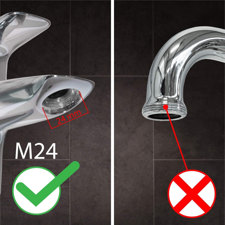Perlator mit M24x1 Au/ßengewinde Luftsprudler Mischd/üse Nirox 10x Wasserhahn-Strahlregler im Set Bel/üfter f/ür Bad /& K/üche 9L//M wassersparender Durchflussbegrenzer