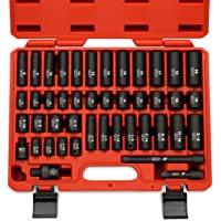 Neiko 02440A 3/8″ Drive Impact Socket Set, 44 Piece Deep and Shallow Assortment | Standard SAE and Metric Sizes (5/16-Inch to 3/4-Inch and 8-19 mm) | Cr-V Steel