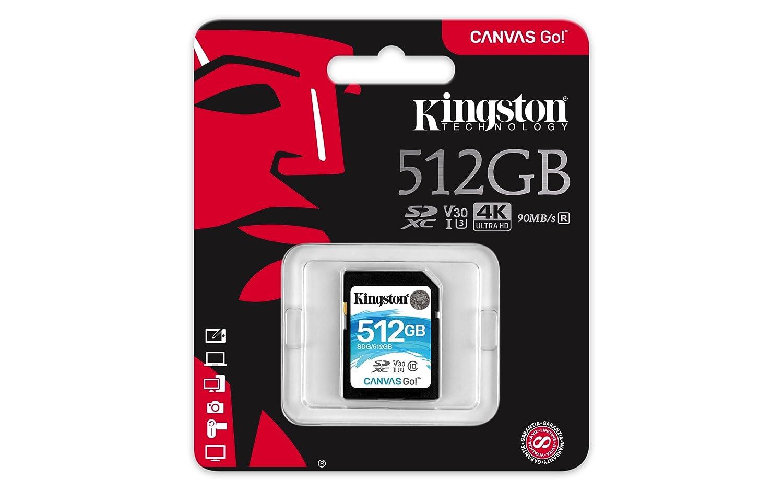 Kingston SDG/512GB - Tarjeta SD Canvas Go! 512 GB, Ideal para DSLR, Drones y Otras filmadoras compatibles con Tarjetas SD