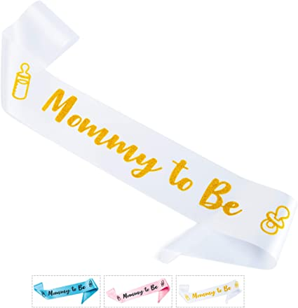 """Party Sash /""""MOM TO BE/"""" White with Gold Lettering Ribbon Baby Shower Supplies"""