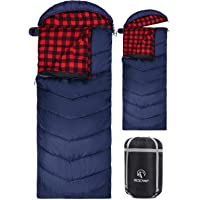 REDCAMP Cotton Flannel Sleeping Bags for Camping, 3-Season Warm and Comfortable Adult Sleeping Bag, Envelope with 2/3/4lbs Filling