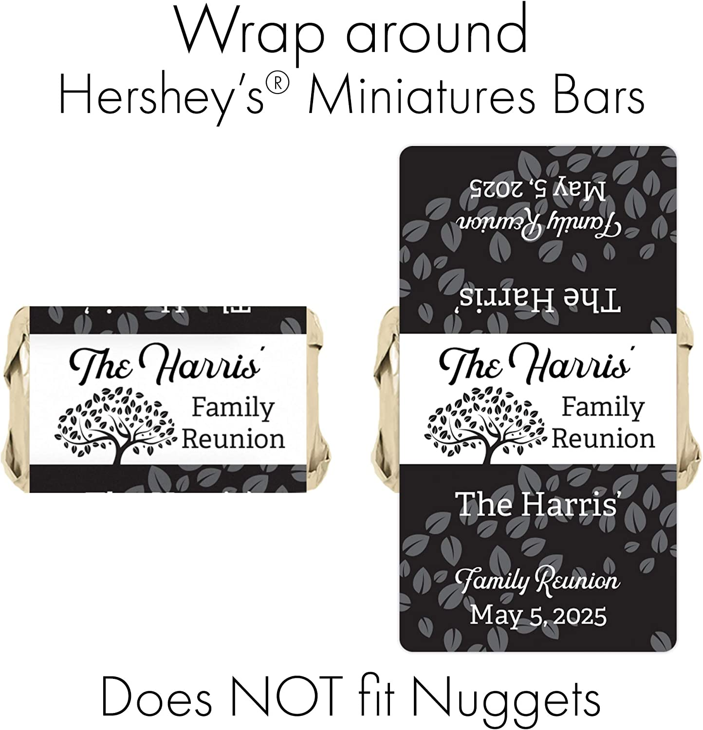 Nugget Wrappers Miniature Candy Wrappers Family Reunion Tree Personalized  Miniature Hershey/'s Chocolate Wrappers