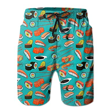 33ada8a4d51d1 Seafood Sushi Prawn Wasabi Japanese Men's Pocket Swim Trunks Athletic Quick  Dry Beach Board Shorts Medium