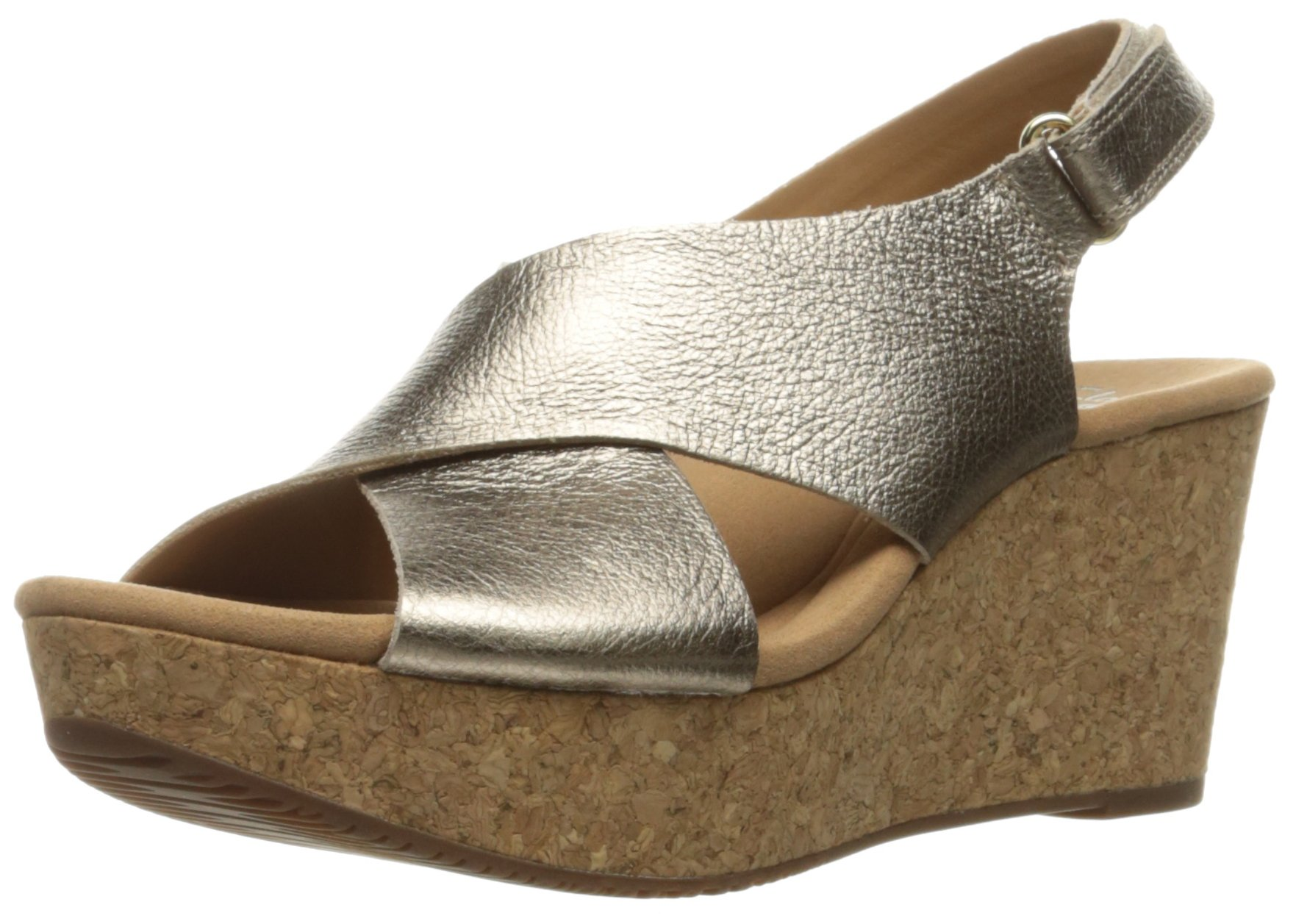CLARKS Women's Annadel Eirwyn Wedge Sandal, Gold/Metallic, 8.5 M US
