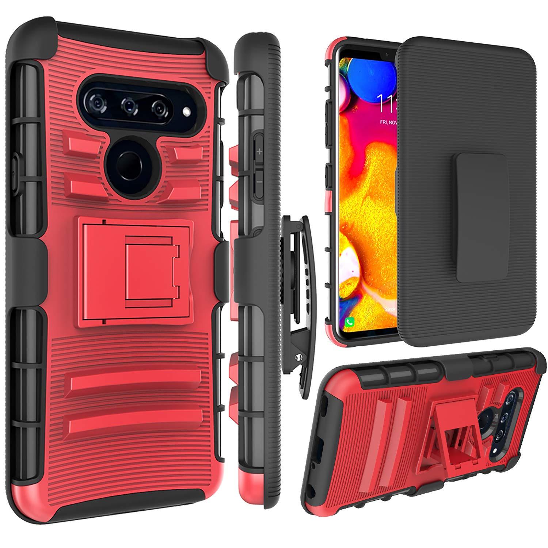 LG V40 ThinQ Case, LG V40 Holsters Clips Case, Jeylly [Belt Clip] Built-in Kickstand Heavy Duty Full Body Shock Absorbing Hard Rugged Case Shield for LG V40 ThinQ/LG V40 - Red