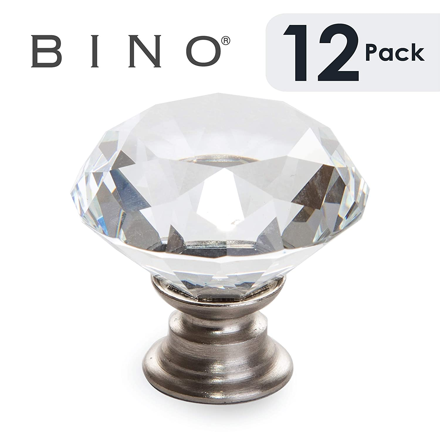 "BINO 12-Pack Crystal Cabinet Knobs Drawer Pull Handles - 1.25"" Diameter (32mm), Satin Nickel - Dresser Knobs for Dresser Drawers Crystal Knobs and Pulls Handles"