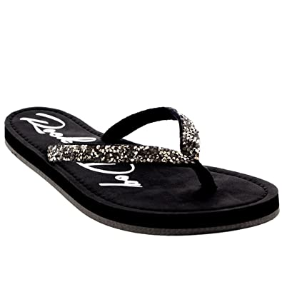 ac2ff960f6fd24 Rocket Dog Womens Surfside Raindance Webbing Flat Beach Velcro Sandals -  Black - 8