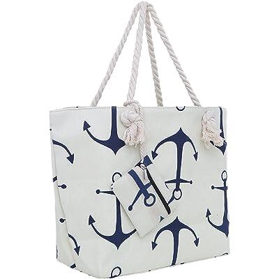 Bolsa de Playa Grande con Cremallera 58 x 38 x 18 cm diseño marítimo Ancla Beis Azul Shopper Bolsa de Hombro Estilo de yate (Yacht Style)