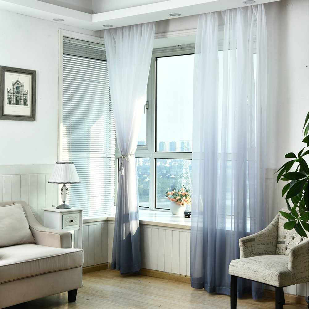 Sunsoaruk Gradient Color Voile Window Curtain Sheer Panel