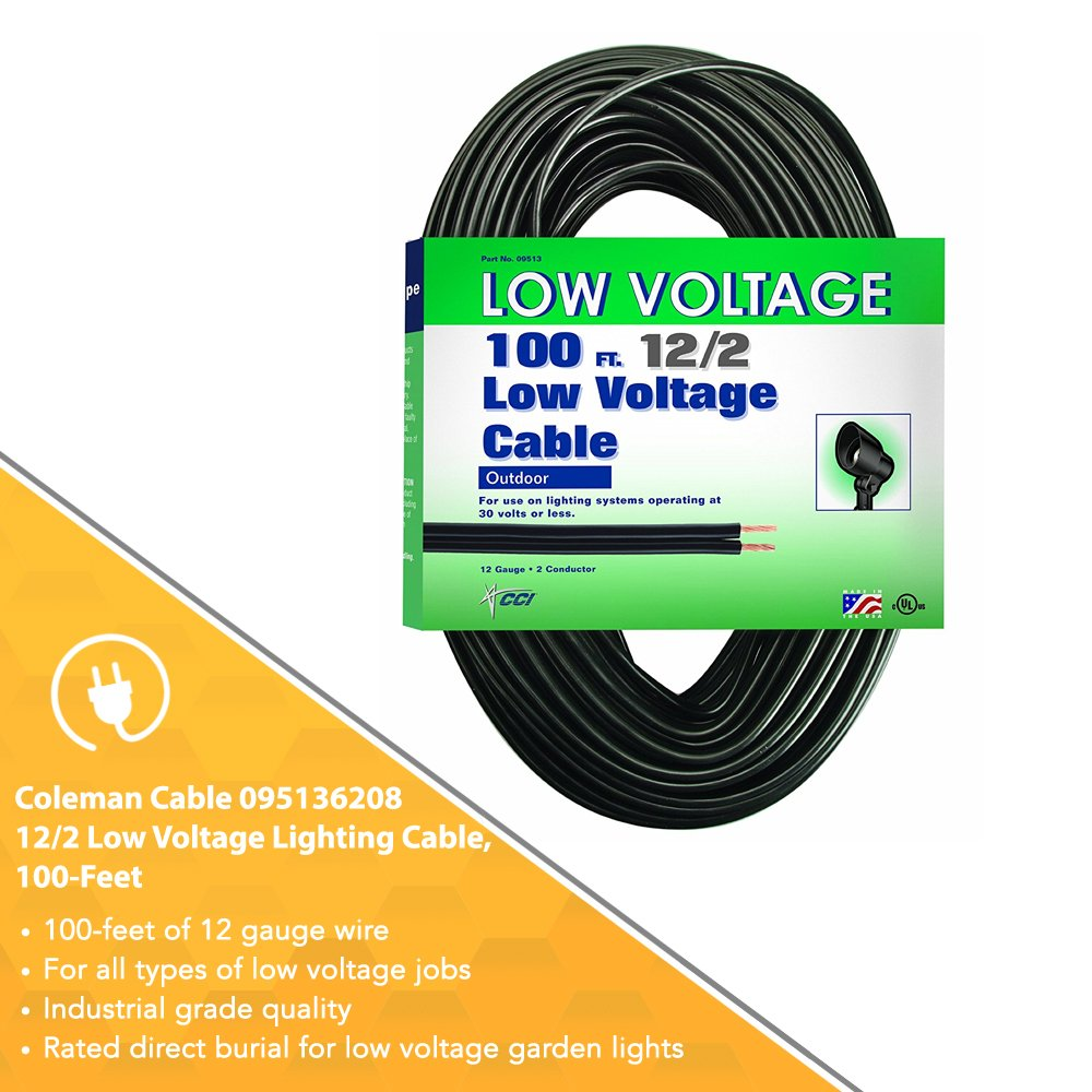 Coleman cable low voltage outdoor lighting cable 100 ft 122 coleman cable low voltage outdoor lighting cable 100 ft 122 gauge black led household light bulbs amazon keyboard keysfo Choice Image