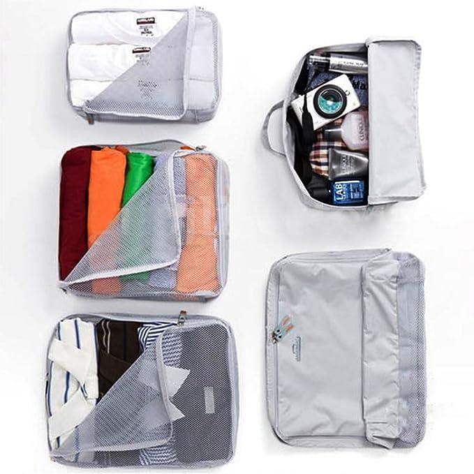 Amazon.com: eDealMax almacenaje de la ropa de equipaje Organizador Embalaje Cubo Bolsa Bolsa 5 en 1 gris: Kitchen & Dining