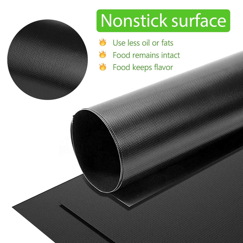 approvati dalla FDA Set di 5 tappetini antiaderenti per barbecue e griglia carbone e forno 40 x 33 cm riutilizzabili e facili da pulire 0,25 mm di spessore perfetti per griglie elettriche