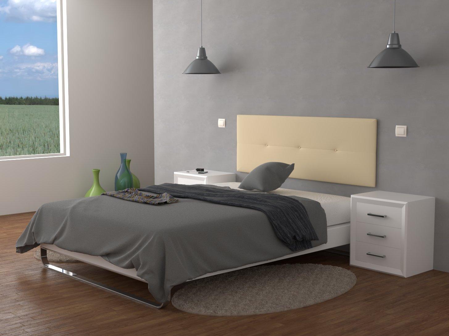 LA WEB DEL COLCHON Cabecero de cama tapizado acolchado Julie 160 x 55 cms. Para camas de 135, 140, 150 y 160 cms. Polipiel color Beig.