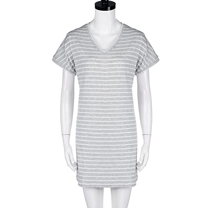 Running-sun Stripe Summer Dress Fashion Casual Womens Short Sleeve Jumper V Neck Short Loose Mini Dress Vestido at Amazon Womens Clothing store: