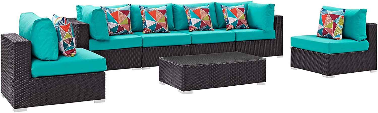 Modway EEI-2357-EXP-TRQ-SET 7 Piece Convene Wicker Rattan Outdoor Patio Sectional Sofa Furniture Set, Seating For Six - Coffee Table, Espresso Turquoise