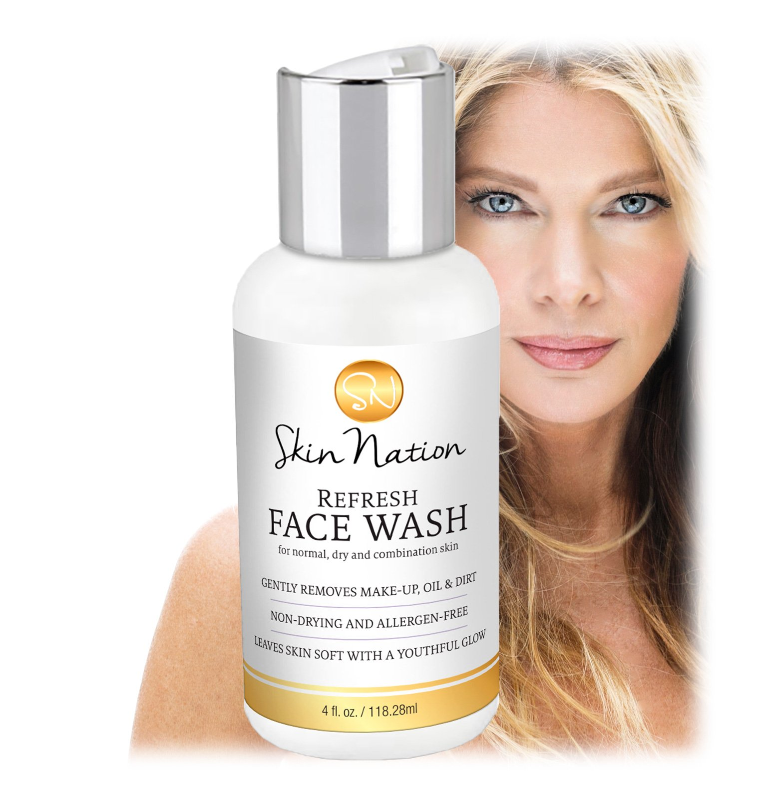 Face Wash - Facial Cleanser Organic & Natural Ingredients - Anti Aging, Foaming, Deep Cleans & Moisturizes with Aloe Vera, Vitamin E, Jojoba Oil, Coconut Milk & Honey. Skin Nation by Michelle Stafford