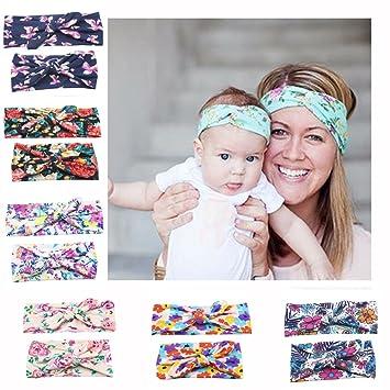 Girls' Baby Clothing Baby Kids Girl Aqua Floral Headband Bow Knot Headdress Elastic Turban Headwrap Rabbit Ears Fashion Hair Band Accessories Hair Accessories