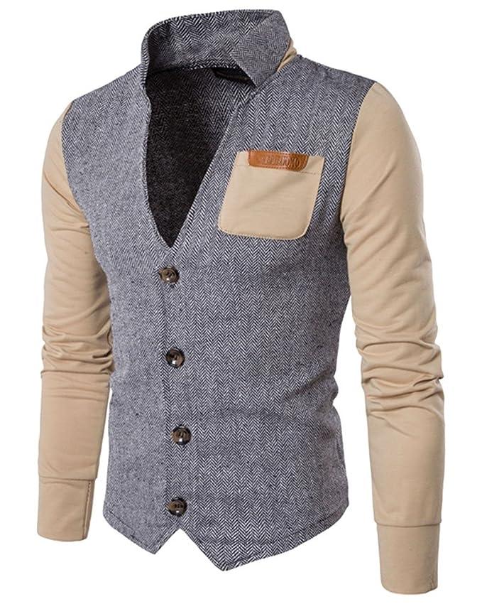 8 opinioni per Anyu Uomo Giacca Casual Slim Elegante Jacket Stand Collare Top Outwear