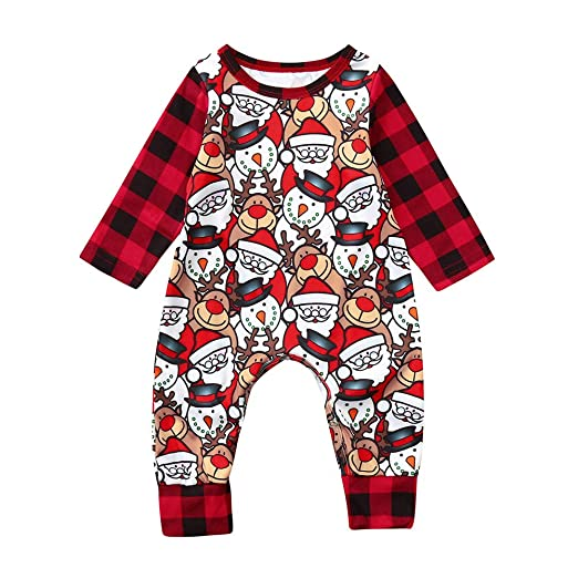 10582b2fc9c Sameno Infant Baby Boys Girls Christmas Plaid Cartoon Deer Snowman Print  Romper Jumpsuit Pajamas Outfits (