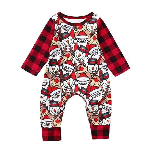 39916788d669 Amazon.com  Sameno Infant Baby Boys Girls Christmas Plaid Cartoon ...