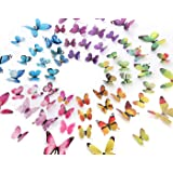 Eoorau 60PCS 3D Butterfly Removable Mural Stickers Wall Stickers Decals Wall Decor Home Decor Kids Room Bedroom Decor…