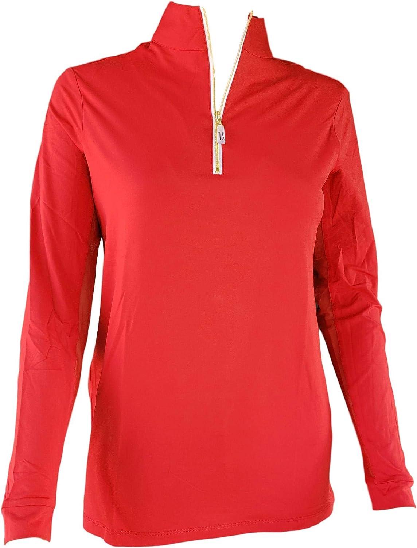 Tailored Sportsman Ladies Icefil Zip Top Sun Shirt Scarlett//Gold, X-Large