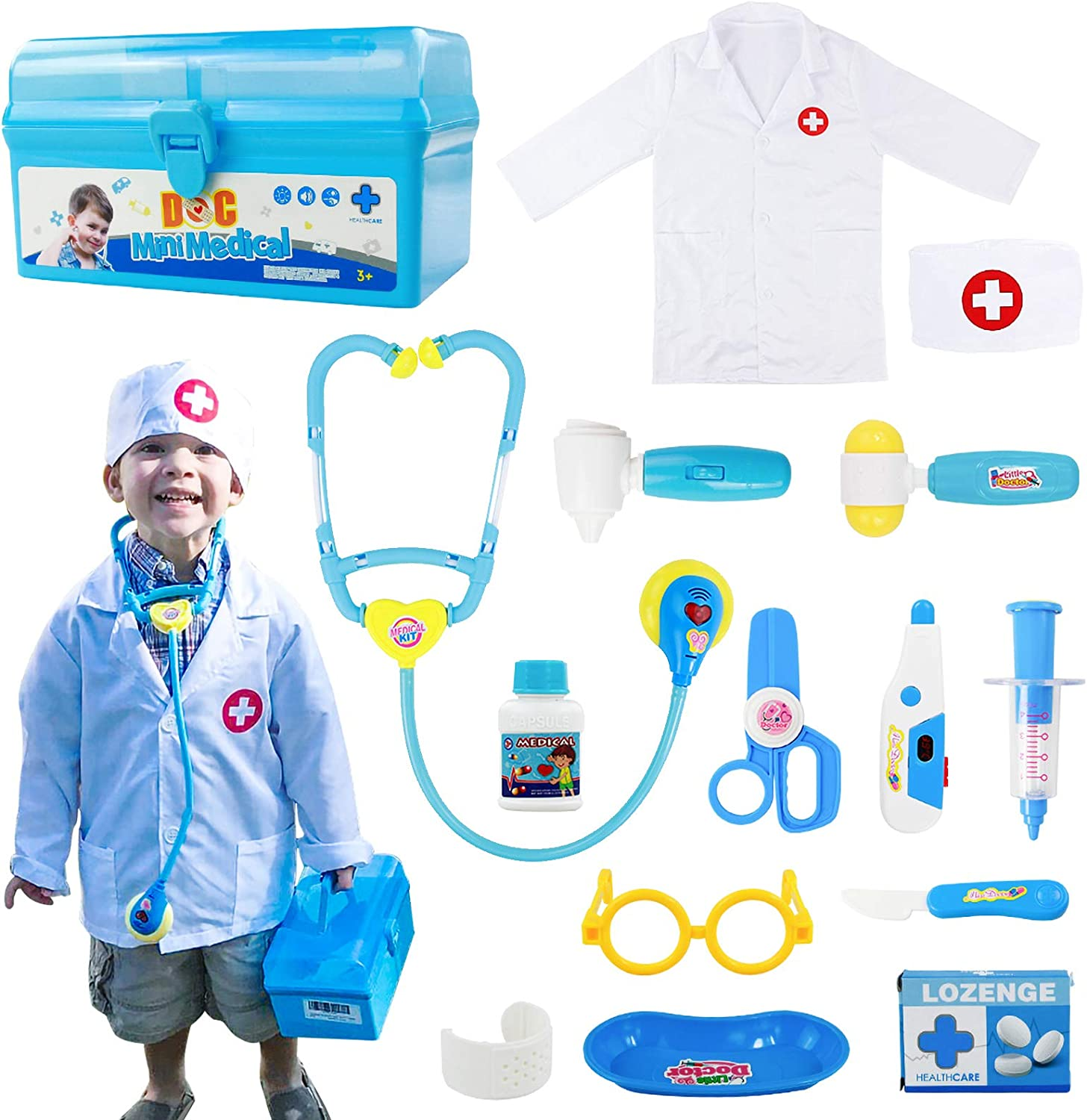 Fajiabao Doctor Kits for Kids Medical Playset Toys Doctor Coat Indoor  Family Cosplay Party Games Dress Up Costume Role Pretend Play Festival  Birthday