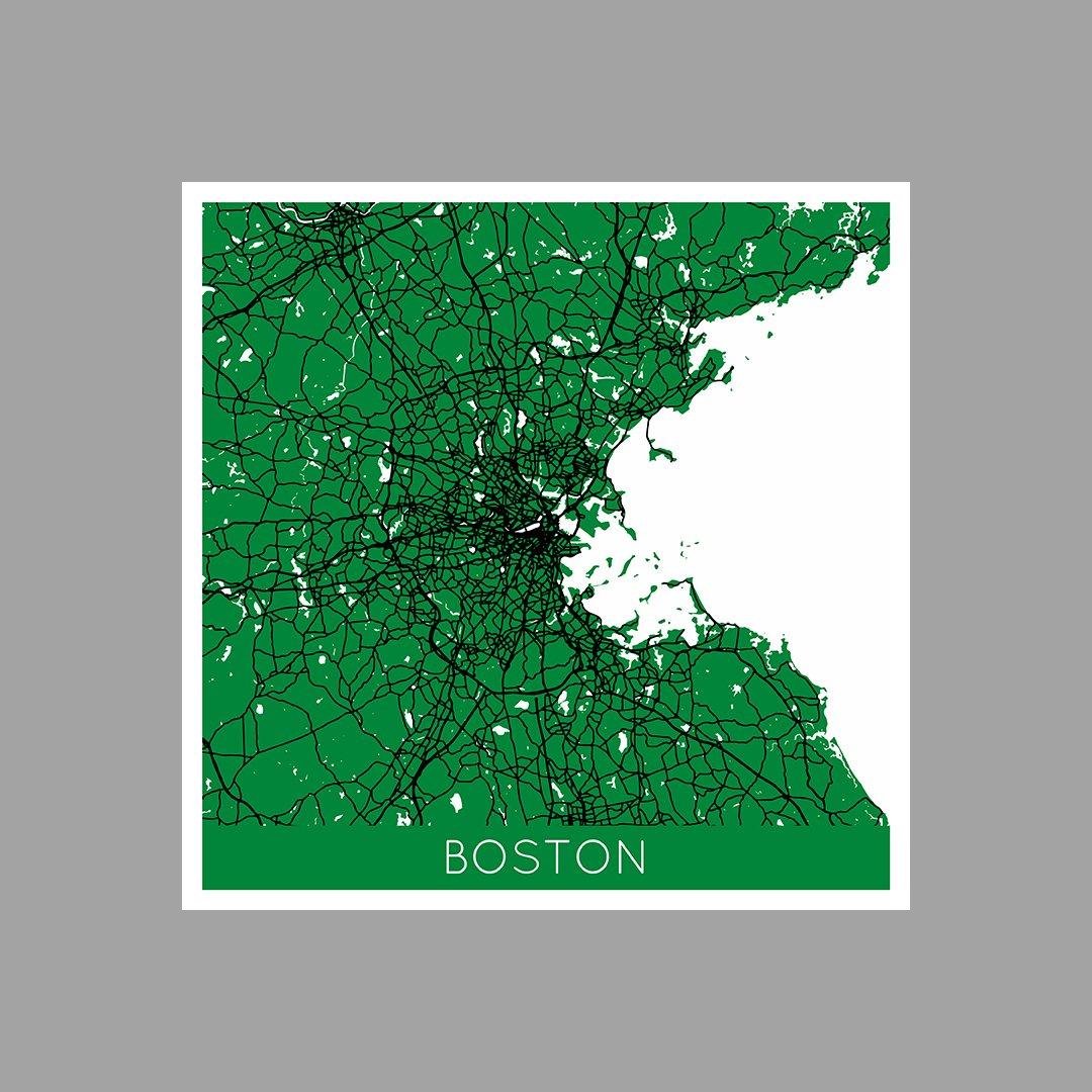 Boston - NBA Color City Maps - 36x36 Matte Poster Print Wall Art