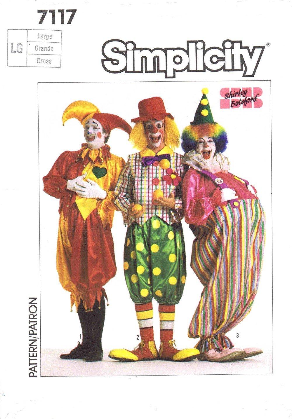 f70b7243e15 Amazon.com  Simplicity 7117 Sewing Pattern Jester Hobo Clown Costumes Chest  36 - 38  Arts