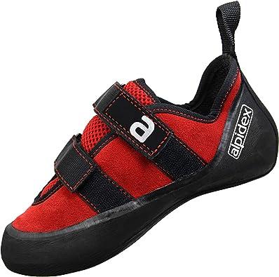 ALPIDEX Zapato de Escalada de Piel para Hombre y Mujer con Cinta de Cierre, Buena Estabilidad de los Bordes