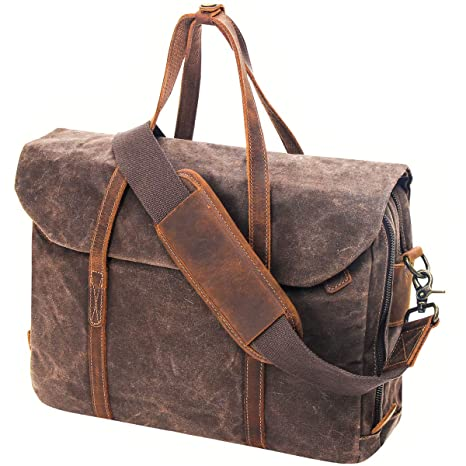 f48ad0fe4344 Amazon.com: Mens Briefcase 15.6 Inch Leather Laptop Bag Waterproof ...