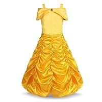 Freebily Enfant Fille Déguisement Carnaval Tenues La Belle et La Bête Bretelles Robe de Princesse Carnaval Cosplay Jupe Ruché Costume de Anniversaire Fête 18 Mois-10 Ans