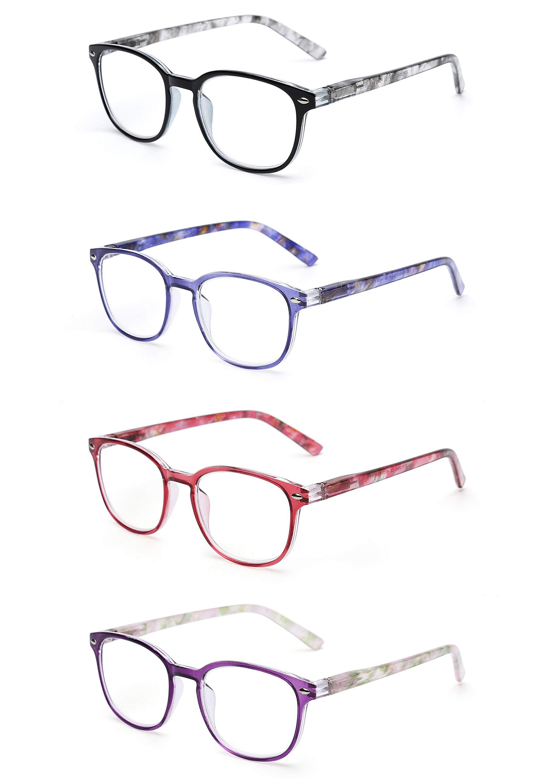 c5968739cf JM Gafas de Lectura Conjunto de 4 Calidad Bisagras de Resorte Lectores  Hombre Mujer Anteojos Para