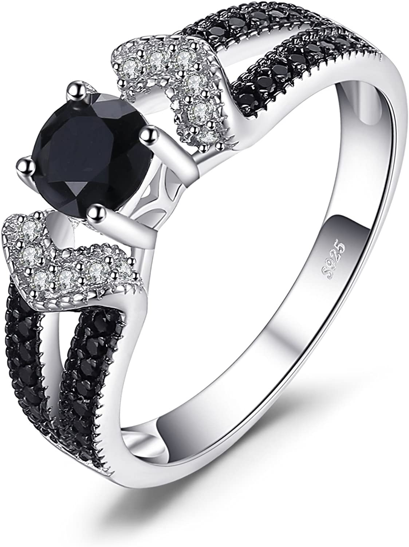 JewelryPalace Anillo de boda Elegante 0.8ct Espinela negro natural en plata de ley 925