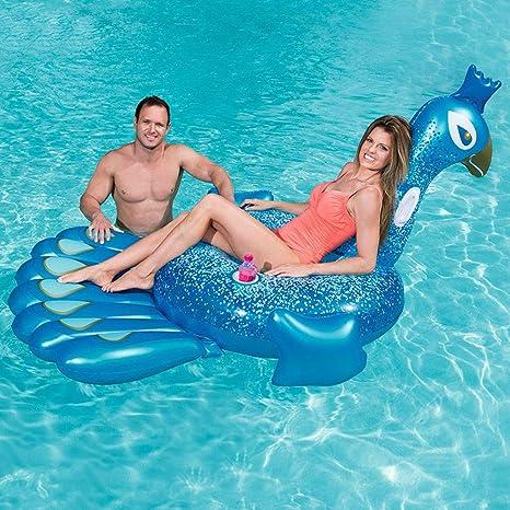 FBEST Hinchable colchonetas Piscina Pavo Real Azul Inflable Gigante de Flotador Juguete para Fiesta de Piscina con válvula rápida: Amazon.es: Deportes y aire libre